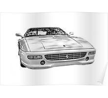 A White Ferrari F355 GTS Poster