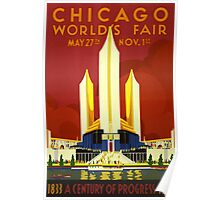 Vintage 1933 Chicago World's Fair Poster Poster