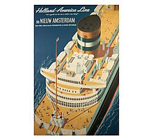Vintage Ocean Liner Travel Poster Photographic Print