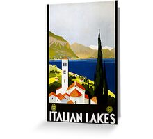 Vintage Travel Poster to the Italian Lakes Greeting Card