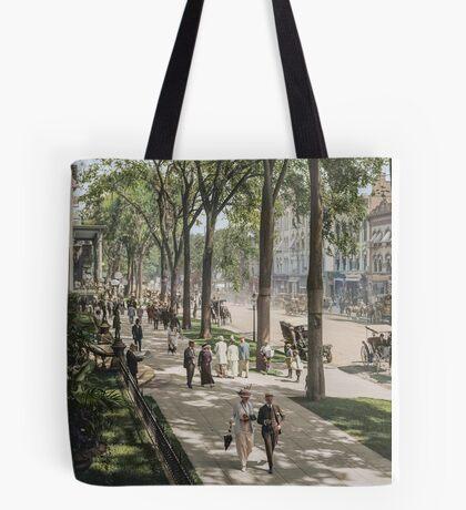 Broadway in Saratoga Springs, New York, ca 1915 (16:9 crop)  Tote Bag