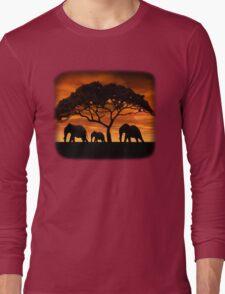 Elephant Sunset Long Sleeve T-Shirt