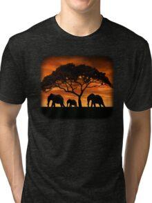 Elephant Sunset Tri-blend T-Shirt