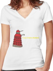 I run from Daleks Women's Fitted V-Neck T-Shirt