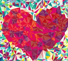 Red heart and pieces of colored paper Sticker