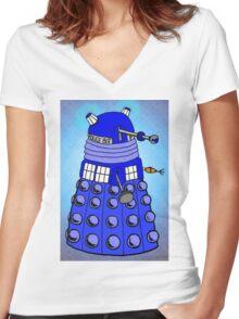 Dalek Tardis Women's Fitted V-Neck T-Shirt