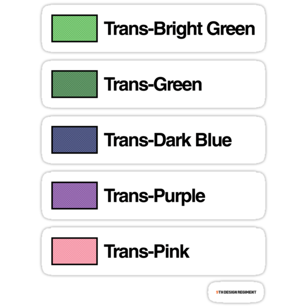 Brick Sorting Labels: Trans-Bright Green, Trans-Green, Trans-Dark Blue, Trans-Purple, Trans-Pink by 9thDesignRgmt