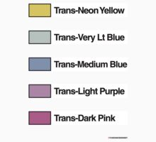 Brick Sorting Labels: Trans-Neon Yellow, Trans-Very Lt Blue, Trans-Medium Blue, Trans-Light Purple, Trans-Dark Pink by 9thDesignRgmt