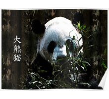 Cute Giant Panda Bear with tasty Bamboo Leaves Poster