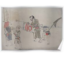 Two men carrying banners and two boys one blowing into a shell the other carrying a shell on a staff in a procession 001 Poster