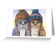 The knitwear cat sisters in hats Greeting Card
