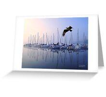 Fish Hawk Sailing Foggy Sunrise Greeting Card