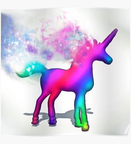 Colourful Unicorn with wake  Poster