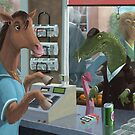 animal cashier horse serving a crocodile in a shop by martyee