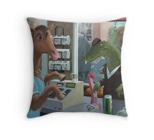 animal cashier horse serving a crocodile in a shop Throw Pillow