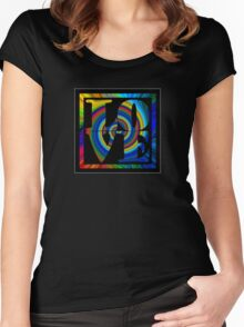 retro color spiral square love t (small front) Women's Fitted Scoop T-Shirt