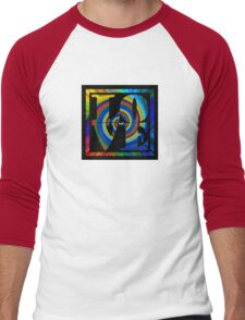 retro color spiral square love t (small front) Men's Baseball ¾ T-Shirt