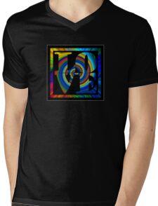 retro color spiral square love t (small front) Mens V-Neck T-Shirt