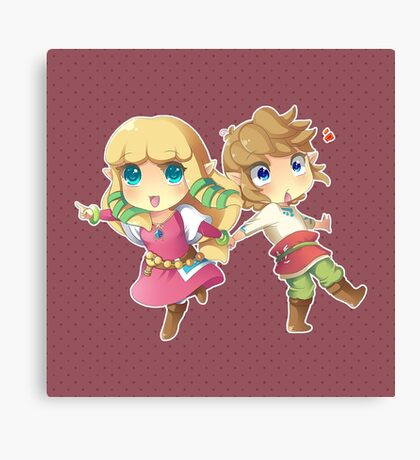Legend of Zelda Skyward Sword: Chibi Link and Zelda Canvas Print