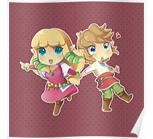 Legend of Zelda Skyward Sword: Chibi Link and Zelda Poster