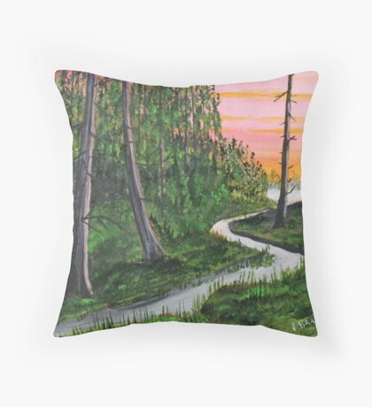 Cedar Forest by the Pond Throw Pillow