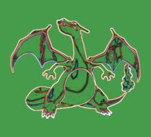 Colorful Charizard Outline Kids Clothes