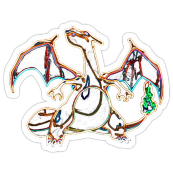 Colorful Charizard Outline by Xeno01