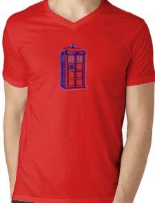 Tardis Blue Mens V-Neck T-Shirt