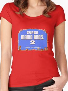 Super Mario Bros. 2 Title Screen Women's Fitted Scoop T-Shirt