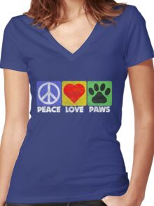 Peace Love Paws Women's Fitted V-Neck T-Shirt