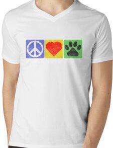 Peace Love Paws Mens V-Neck T-Shirt