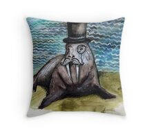 Gentleman Walrus Throw Pillow