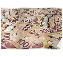 100 Canadian dollar banknotes. Poster