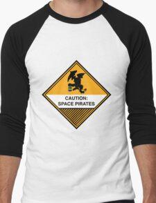 Space Pirates Warning Placard Men's Baseball ¾ T-Shirt
