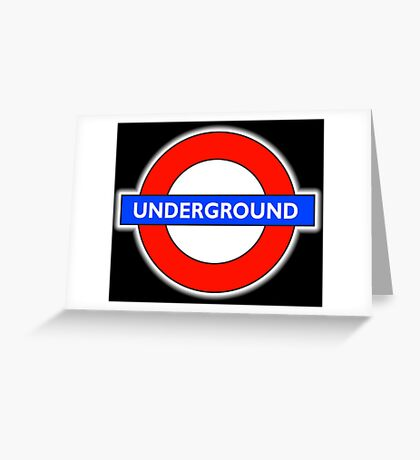 TUBE, UNDERGROUND, LONDON, ENGLAND, UK, BRITAIN, English, BRITISH, on BLACK Greeting Card