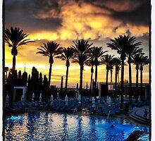 Poolside Susnset in Vegas by photosbyamy