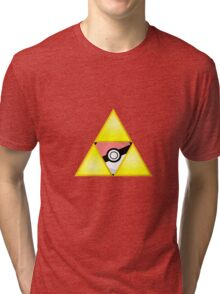 Zelda Triforce ( courage, wisdom, power, and pokemon ) Tri-blend T-Shirt