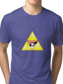 Zelda Triforce ( courage, wisdom, power, and pokemon ) Tri-blend T-Shirt