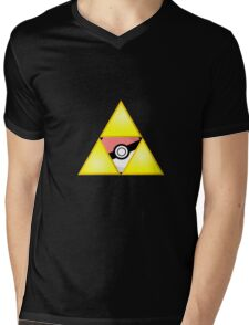 Zelda Triforce ( courage, wisdom, power, and pokemon ) Mens V-Neck T-Shirt