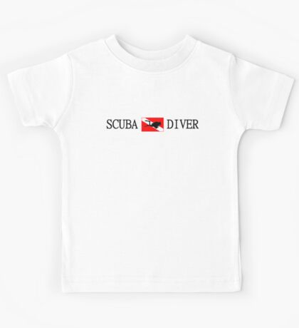 Scuba Diving and Flag with Diver Kids Tee