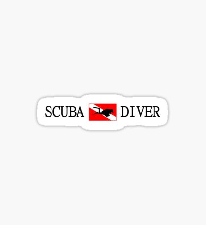 Scuba Diving and Flag with Diver Sticker