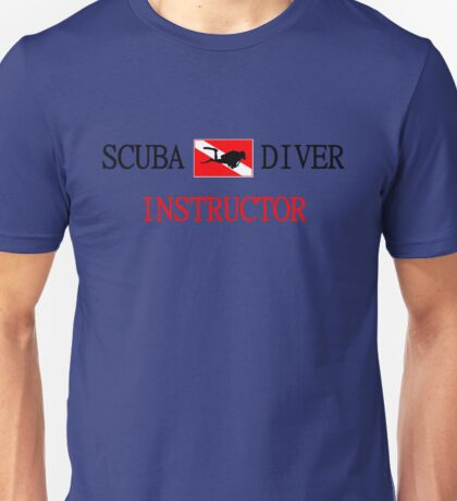 Scuba Diving Instructor and Flag with Diver Unisex T-Shirt