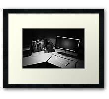 My desk : The modern day photographers dark room. Framed Print