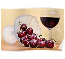 Red cherries and wine Poster