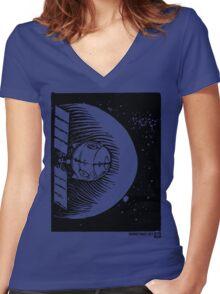 Orbital Satellite Delta-6 (Black Version) Women's Fitted V-Neck T-Shirt