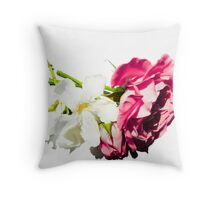 rose and white flower Throw Pillow