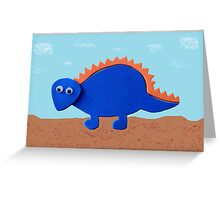 Dinosaur- lue and Orange Stegosaurus Greeting Card