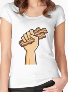 Hand holding Bacon Women's Fitted Scoop T-Shirt
