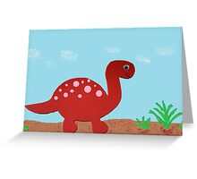 Dinosaur-Red Brontosaurus Greeting Card