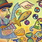 David juggling fish. by Karen  Foster
